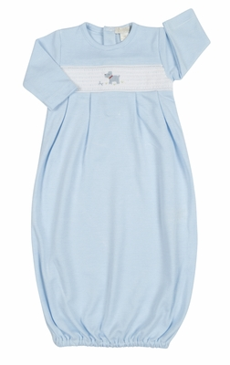 Kissy Kissy Infant Boys Light Blue Striped Smocked Scottie Dog Sack Gown