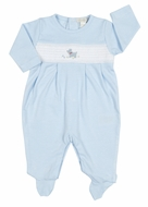 Kissy Kissy Infant Boys Light Blue Stripe Smocked Sweet Scottie Dog Footie