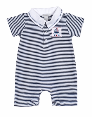 Kissy Kissy Infant Boys Navy Blue Striped Seven Seas Playsuit with Collar