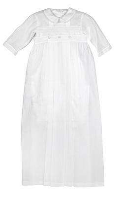 Kissy Kissy Infant Boys Smocked Phillip Christening Gown - Converts to Romper - Includes Hat