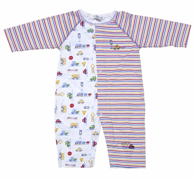 Kissy Kissy Infant Boys Red / Blue Stripes City Cars / Signs Playsuit Romper