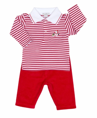 Kissy Kissy Infant Boys Red Velour Striped Merry & Bright Santa Pants Set with Collar