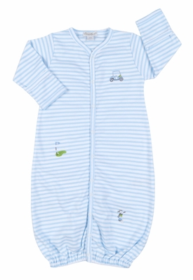 Kissy Infant Boys Striped Golf Theme Convertible Gown - Blue