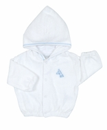 Kissy Kissy Infant Boys White Terry Cover Up Jacket with Hood - Blue Sand Castle