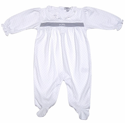 Kissy Kissy Infant Girls Baby Ritz Footie - Silver on White
