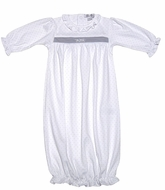 Kissy Kissy Infant Girls Baby Ritz Gown - Silver on White