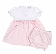 Kissy Kissy Infant Girls Lovable Lambs Pink Stripe Dress with Diaper Cover