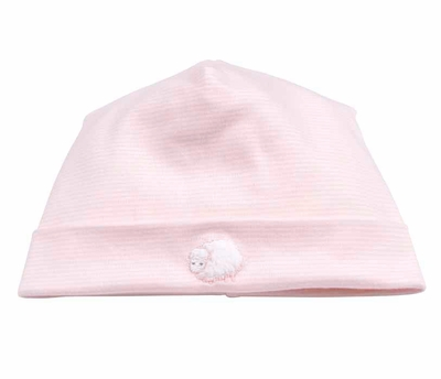 Kissy Kissy Infant Girls Lovable Lambs Striped Hat - Pink