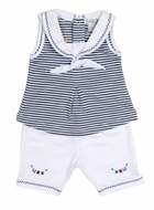 Kissy Kissy Infant Girls Navy Blue Striped Sailor Top / White Capri Pants Set