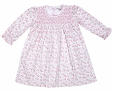 Kissy Kissy Infant Girls Pink Floral Smocked Dress with Bloomers