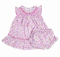 Kissy Kissy Infant Girls Pink Parisian Summer Floral Smocked Dress with Diaper Cover