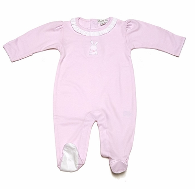 Kissy Kissy Infant Girls Pink Pique Easter Bunny - Ruffle Footie