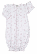 Kissy Kissy Infant Girls Pink Rockabye Baby Buggy Print Converter Gown