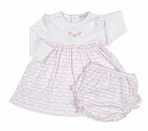 Kissy Kissy Infant Girls Pink Scallop Bows Print Dress with Diaper Cover