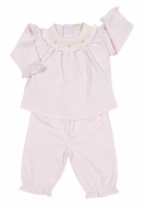 Kissy Kissy Infant Girls Pink Smocked Collar Pant Set