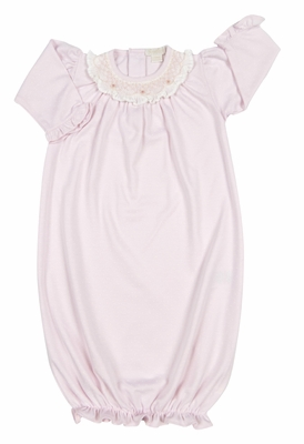 Kissy Kissy Infant Girls Pink Smocked Collar Sack Gown
