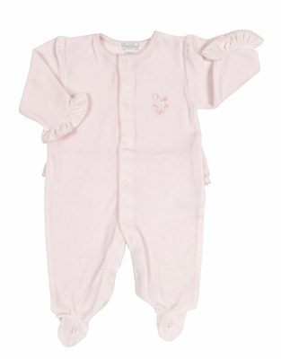 Kissy Kissy Infant Girls Pink Velour Ruffle Footie with Rocking Horse