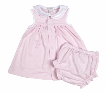 Kissy Kissy Infant Girls Sailor's Delight Stripe Sailor Dress with Diaper Cover - Pink