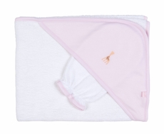 Kissy Kissy Infant Girls Sophie la Girafe Giraffe Hooded Towel with Wash Mitt - Pink