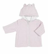 Kissy Kissy Infant Girls Striped Velour Jacket with Ears on Hood - Pink