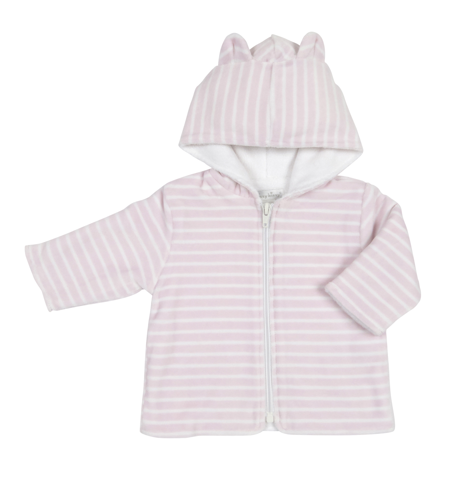 ae1f19d602f2 Kissy Kissy Infant Girls Striped Velour Jacket with Ears on Hood - Pink