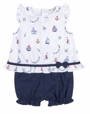Kissy Kissy Infant Girls White Sailboat Print / Navy Blue Bloomers Set