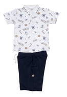 Kissy Kissy Toddler Boys Navy Blue Shorts with Little Slugger Baseball Print Shirt with Collar