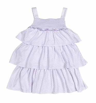 Kissy Kissy Toddler Girls Lilac Blooms Smocked Tiered Dress