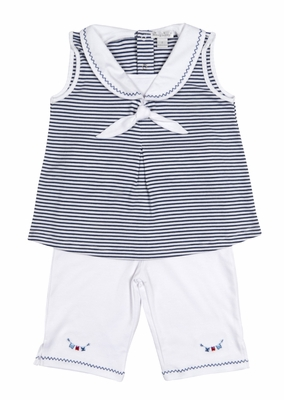 Kissy Kissy Toddler Girls Navy Blue Striped Sailor Top / White Capri Pants Set