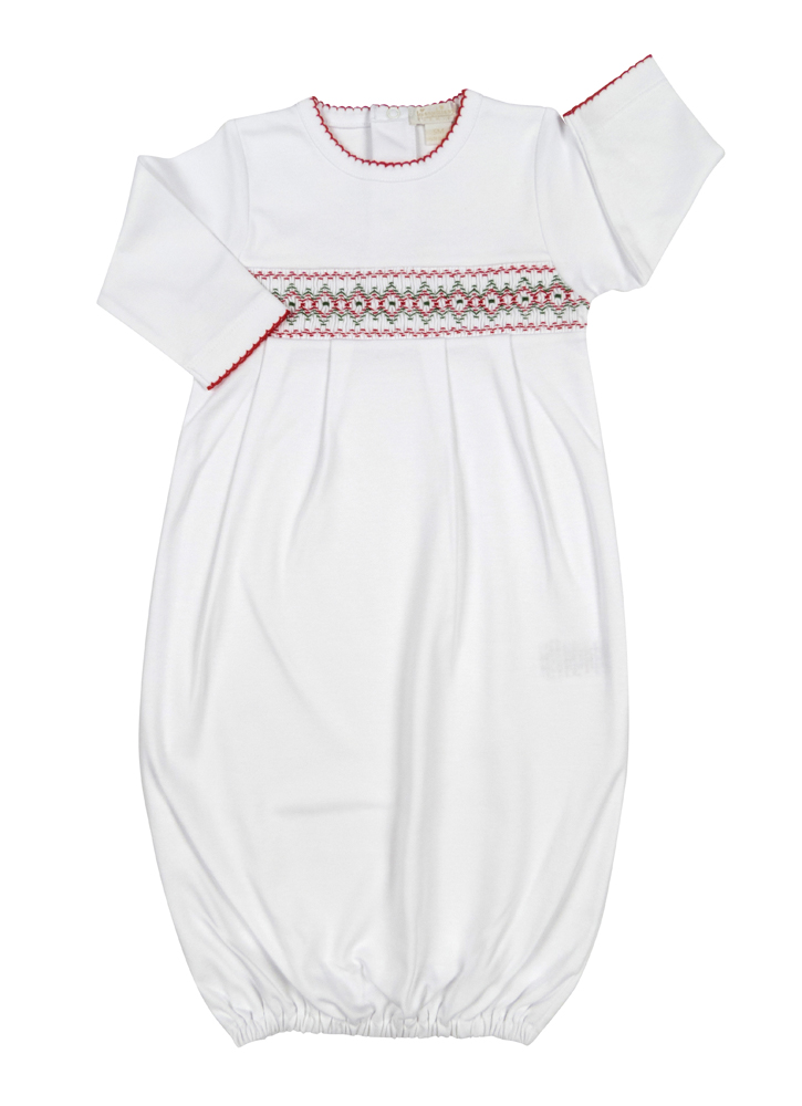 Kissy Kissy White Gown Smocked in Red for Christmas - Boy