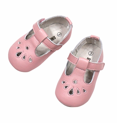 L'Amour Angel Baby Shoes - Girls Perforated T-Strap Crib Shoe - Pink