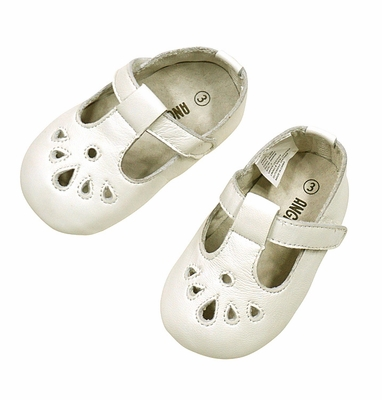L'Amour Angel Baby Shoes - Girls Perforated T-Strap Crib Shoe - Off White