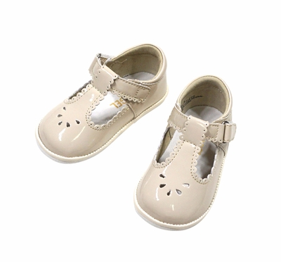 L'Amour Angel Baby / Toddler Girls Perforated Dottie Scallop Mary Janes Shoes - Cream Patent