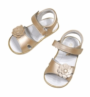 L'Amour Angel Baby / Toddler Girls Velcro Sandal with Flower - Champagne Shimmer