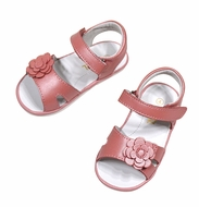 L'Amour Angel Baby / Toddler Girls Velcro Sandal with Flower - Pink Guava Shimmer