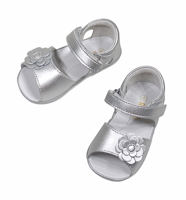 Angel Baby / Toddler Girls Velcro Sandal with Flower - Silver