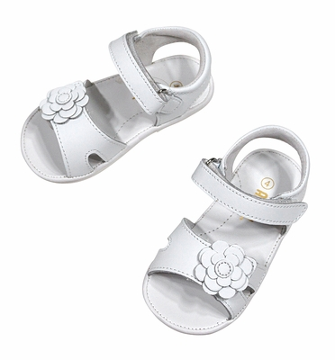 L'Amour Angel Baby / Toddler Girls Velcro Sandal with Flower - White
