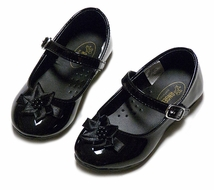 L'Amour Angel Girls Dressy Black Patent Mary Jane Shoes with Flower