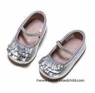 L'Amour Baby / Toddler Girls Leather Ruffle Mary Janes Shoes - Silver