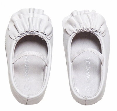 L Amour Baby Toddler Girls White Leather Ruffle Mary Janes Shoes