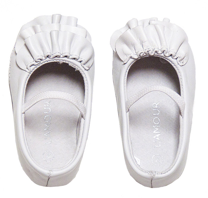 L Amour Baby Toddler Girls' White Leather Ruffle Mary