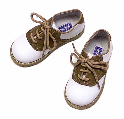 L'Amour Boys Leather Saddle Oxfords Shoes - White with Khaki Trim