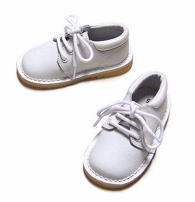 L'Amour Boys White Leather Dress Oxfords Shoes - Lace Up