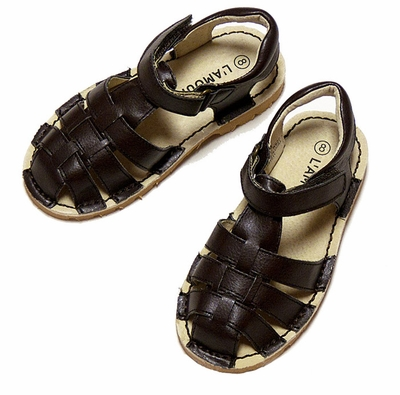 L'Amour Girls / Boys Classic All Leather Fisherman Sandals - BROWN