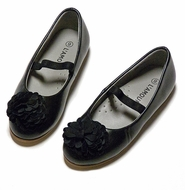 L'Amour Girls Flower Ballerina Flat Shoes - Black Kid Leather - No Strap Sizes 13 and Up