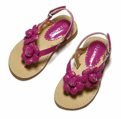 L'Amour Girls Flower Thongs Sandals with Back Strap - Fuchsia