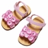L'Amour Girls Glitter Flowers Sandals with Velcro Straps - PINK