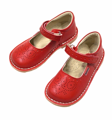 L'Amour Girls Perforated Leather Mary Janes Shoes - Velcro Strap - Red