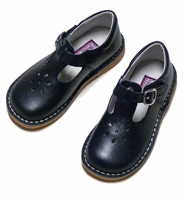L'Amour Girls Leather T-Strap Mary Jane Shoes - Navy Blue
