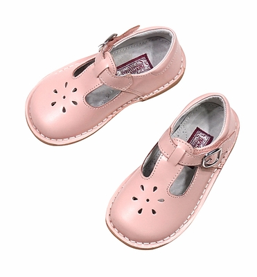 L'Amour Girls Leather T-Strap Mary Jane Shoes - Pink